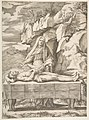 Pieta, Christ stretched out on a table in a landscape, the Virgin standing behind arms open MET DP812431.jpg