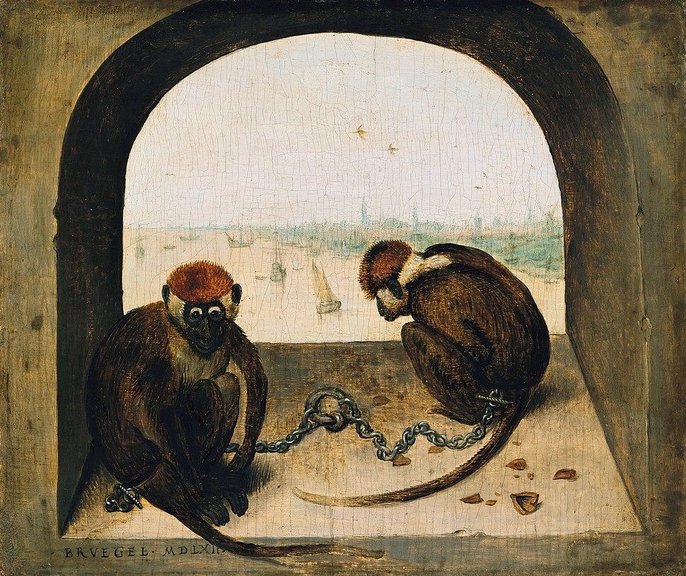 Pieter Bruegel de Oude - Twee geketend apen