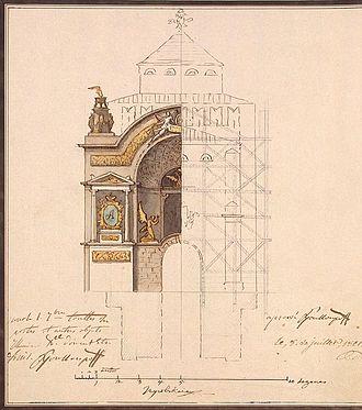 Pietro Gonzaga - Decoration of the Nikolskaya tower of Moscow Kremlin for the coronation of Alexander I, 1801, Hermitage Museum