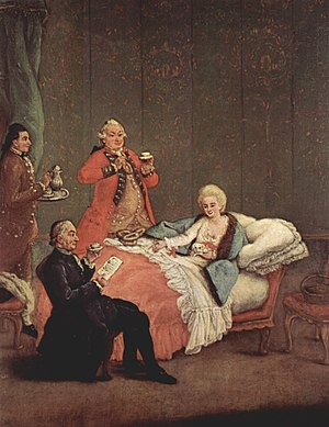 Early modern European cuisine - The morning chocolate by Pietro Longhi; Venice, 1775-1780.