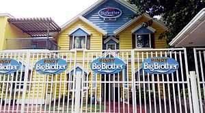 Pinoy Big Brother - The Big Brother House after its renovation in 2011.  In 2015, former Pinoy Dream Academy facade next door became part of the Big Brother house as an extended facade.