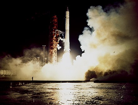 The launch of the Atlas-Centaur carrying the Pioneer G (11) spacecraft on April 5, 1973. Pioneer G (Pioneer 11) launch.jpg