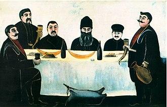 Tamada - Begos' friends by Niko Pirosmani. A tamada holding a kantsi (horn) and introducing a toast at a keipi (festive supra)