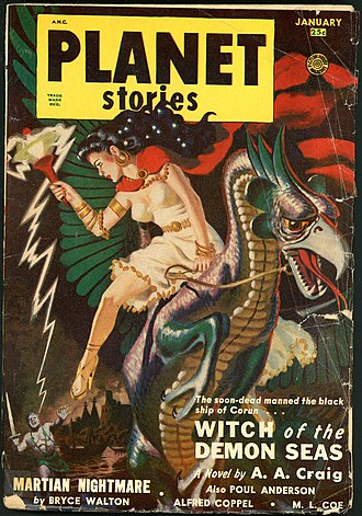 """Poul Anderson bibliography - Anderson's novella """"Witch of the Demon Seas"""" (published under his """"A. A. Craig"""" byline) was the cover story in the January 1951 issue of Planet Stories"""