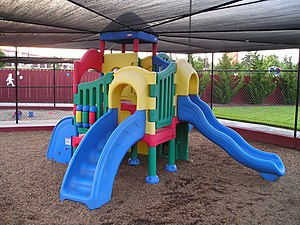 Playground - Combination playground structure for small children; slides, climbers (stairs in this case), playhouse