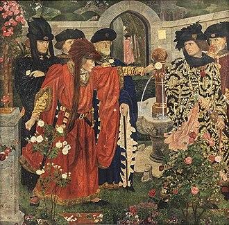 Wars of the Roses - Framed print after 1908 painting by Henry Payne of the scene in the Temple Garden from Shakespeare's play Henry VI, Part 1, where supporters of the rival factions pick either red or white roses