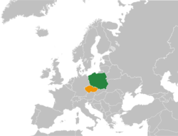 Map indicating locations of Poland and Czech Republic