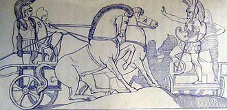 Polydamas (mythology) - Polydamas attempting to stop Hector attacking the Greeks, from John Flaxman's illustrations to The Iliad
