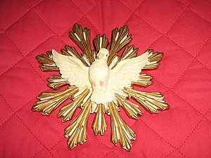 Cult of the Holy Spirit - A symbol of the faith: the dove of the Holy Spirit, as seen on one of the standards carried in ritual processions