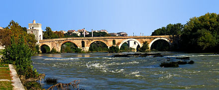 The Milvian Bridge (Ponte Milvio) over the Tiber, north of Rome, where Constantine and Maxentius fought in the Battle of the Milvian Bridge Ponte Milvio-side view-antmoose.jpg