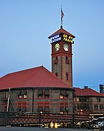 File:Portland Union Station at dusk - west exterior and clock tower.jpg