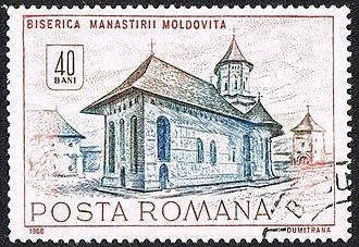 Moldovița Monastery - Moldovita on stamp of Romanian post, 1968
