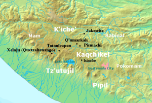 Chitinamit - Chitinamit is marked as Jakawitz on this map of the Postclassic Maya highlands