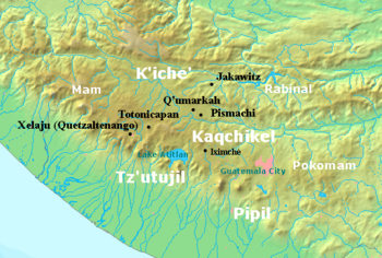 The highlands of Guatemala are bordered by the Pacific plain to the south, with the coast running to the southwest. The Kaqchikel kingdom was centred on Iximche, located roughly halfway between Lake Atitlán to the west and modern Guatemala City to the east. The Tz'utujil kingdom was based around the south shore of the lake, extending into the Pacific lowlands. The Pipil were situated further east along the Pacific plain and the Pocomam occupied the highlands to the east of modern Guatemala City. The K'iche' kingdom extended to the north and west of the lake with principal settlements at Xelaju, Totonicapan, Q'umarkaj, Pismachi' and Jakawitz. The Mam kingdom covered the western highlands bordering modern Mexico.