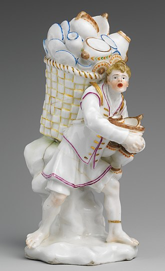 """Street cries - Pottery seller, from a series of the """"Cries of Naples"""" in Capodimonte porcelain, c. 1745"""