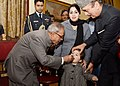 Pranab Mukherjee launching the Nationwide Polio Round by administering polio drops to the Children, at Rashtrapati Bhavan, in New Delhi. The Union Minister for Health and Family Welfare, Shri Ghulam Nabi Azad is also seen (1).jpg