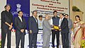 Pranab Mukherjee presented the National Awards for excellence in journalism, at the National Press Day celebrations, in New Delhi. The Minister of State for Information & Broadcasting, Col. Rajyavardhan Singh Rathore.jpg