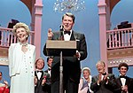 President Ronald Reagan and Nancy Reagan Attending The Ford's Theater Festival Gala with Victor Borge and Richard Chamberlain in The Background in Washington DC NARA 75854841.jpg