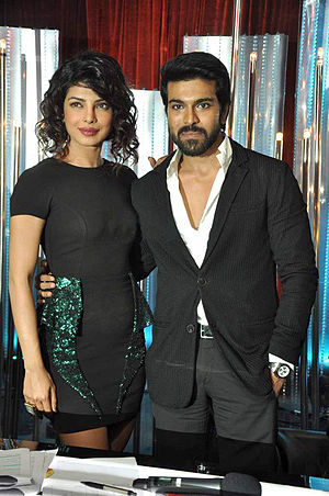 Ram Charan - Charan with Priyanka Chopra during promotions of their film Zanjeer in 2013