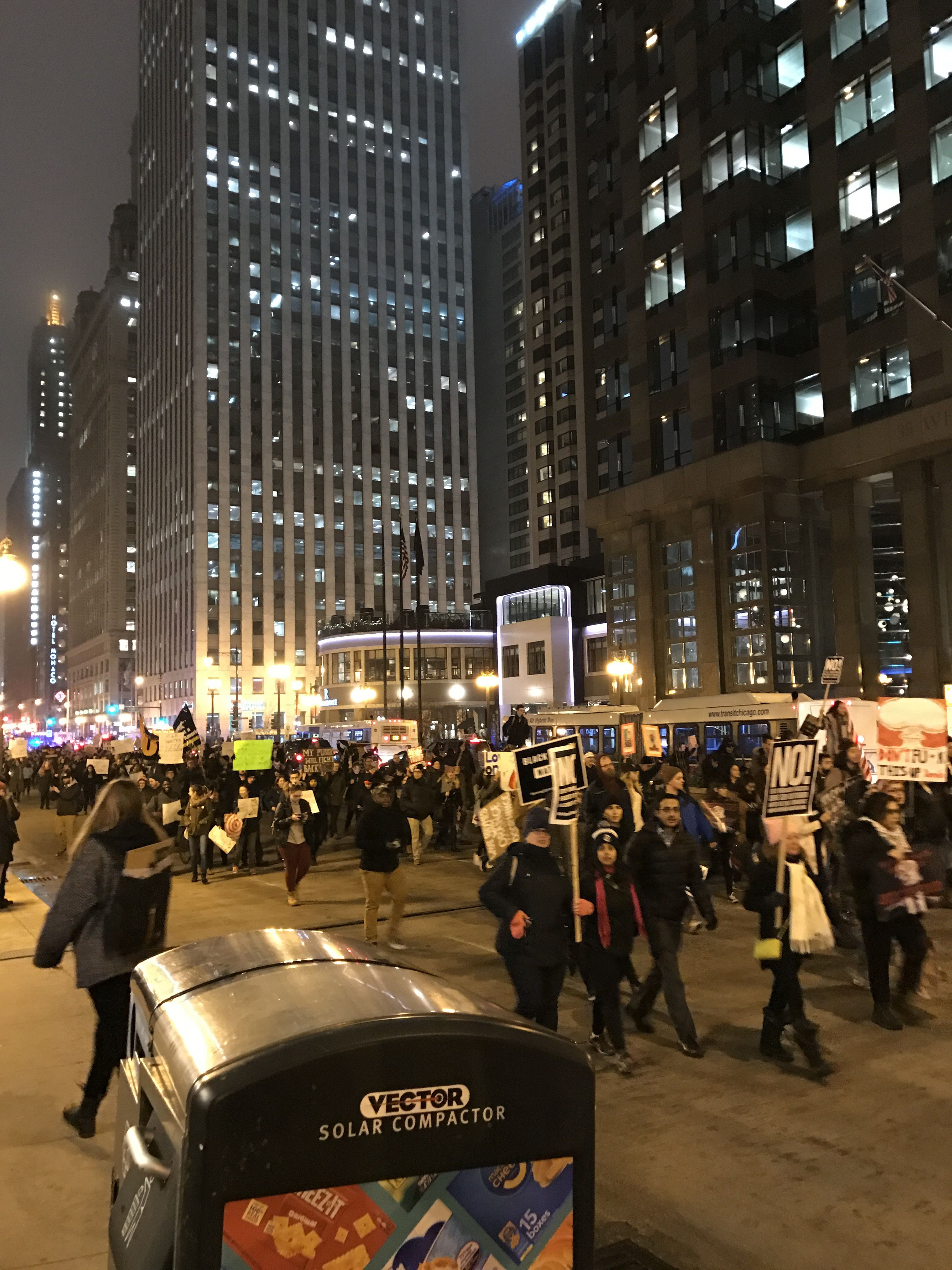 Trump 21 World Depicted As Greek Deity Gaia From: File:Protests In Chicago Against Donald Trump January 21