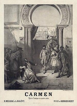Prudent-Louis Leray - Plakat til premieren på Georges Bizets Carmen.jpg
