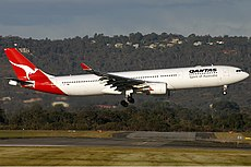 Qantas Airbus A330-300 arriving at Perth Airport Monty-1.jpg