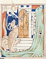 Queen Mary Apocalypse - BL Royal MS 19 B XV f. 38v Angel with key and dragon.jpg