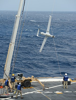 Boeing Insitu RQ-21 Blackjack - Sailors recover a RQ-21A Small Tactical Unmanned Air System (STUAS)