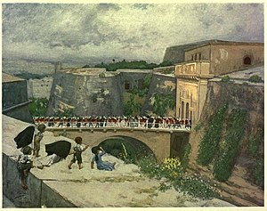 City Gate (Valletta) - 1910 painting of the bridge leading to City Gate