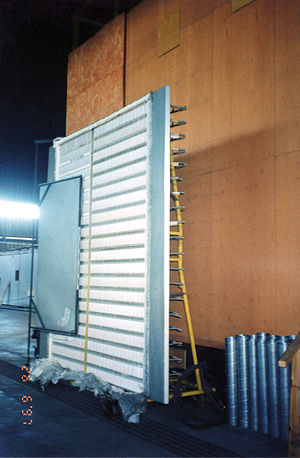 A radiant heat panel for precision testing of quantified energy exposures at the Institute for Research in Construction of the NRC, near Ottawa.