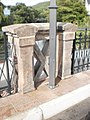 Railing of bridge Weidenhäuser Brücke in Marburg with inscription 1892, view to North and next bridge on reopening day from roadside, 2019-08-10.jpg