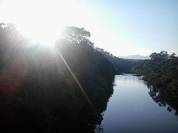 Raising sun along Bhadra river.jpg