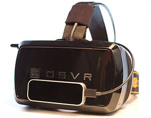 Leap Motion - A Leap Motion controller attached to the front of an OSVR virtual reality development headset.