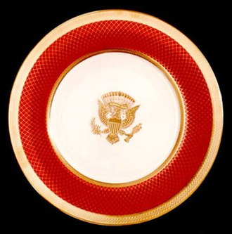 Bone china - Plate from Ronald Reagan's state service for the White House, by Lenox