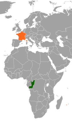 Map indicating locations of Republic of the Congo and France