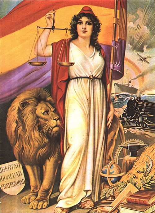 Allegory of the Spanish Republic, displaying republican paraphernalia such as the Phrygian cap and symbols of modernity Republique-allegorie.jpg
