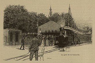 Decauville railway at Exposition Universelle (1889) - Image: Revue de l'Exposition Universelle de 1889 — 0446 (cropped)