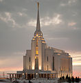Rexburg Idaho Temple at Sunset 2009.jpg