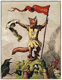 An illustration of an anthropomorphic fox holding a flag.