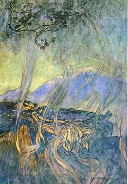 An older image of the sleeping princess: Brunnhilde, surrounded by magical fire rather than roses (illustration by Arthur Rackham to Richard Wagner's Die Walkure) Ring34.jpg