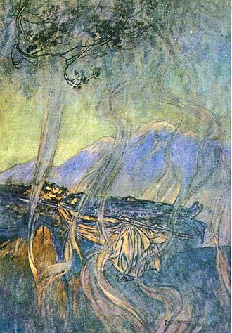 Sleeping Beauty - An older image of the sleeping princess: Brünnhilde, surrounded by magical fire rather than roses (illustration by Arthur Rackham to Richard Wagner's Die Walküre)
