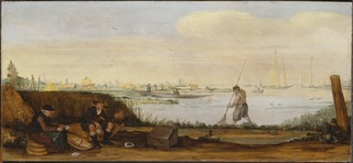 River Landscape with Boats and Fishermen