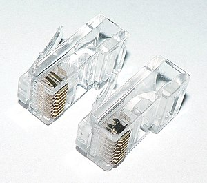 Modular connector - Contacts for solid wire (top left) and stranded wire (bottom right)