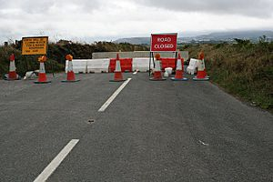 Road Closed. This is over a mile away from the...