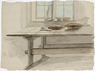 Kulho, leipä ja veitsi pöydänpäässä sekä pullo ja muita esineitä ikkunalla