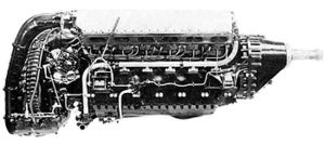 A right side view of an aircraft piston engine