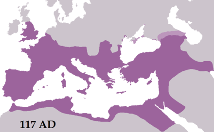 The Roman Empire reached its greatest extent under Trajan in AD 117 RomanEmpireTrajan117AD.png