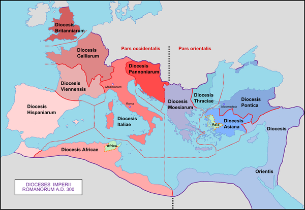 Original dioceses of the Roman Empire, created by emperor Diocletian (284-305) Roman Empire with dioceses in 300 AD.png