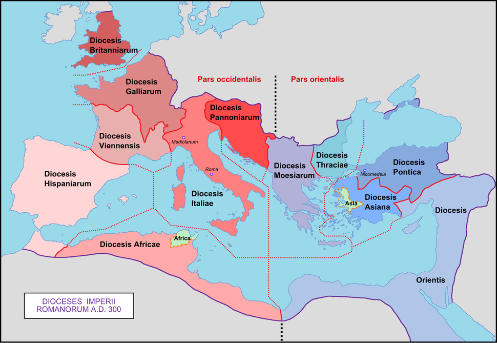 Roman Empire with dioceses in 300 AD