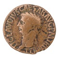 Romerskt bronsmynt med kejsar Claudius, 42-52 - Skoklosters slott - 100243.tif